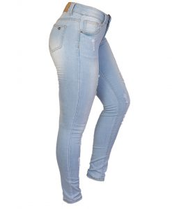 Jeans Damas Celeste SLOWLY Modelo Ligth Blue lateral