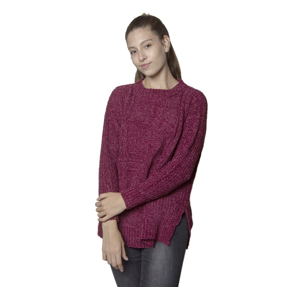 1466b520a5 Sweater Dama Hilo Terciopelo Bordó Wanna BDL-30 - Tienda Chaia