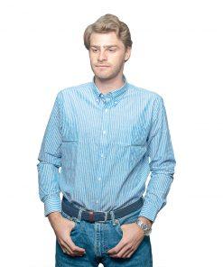 Camisa Hombre Azul a Rayas Halogen CAM-H-57