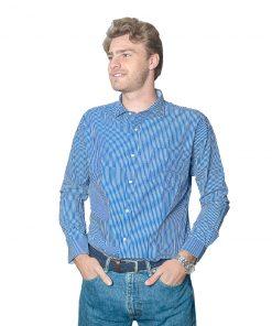 Camisa Hombre Azul a Rayas Halogen CAM-H-94