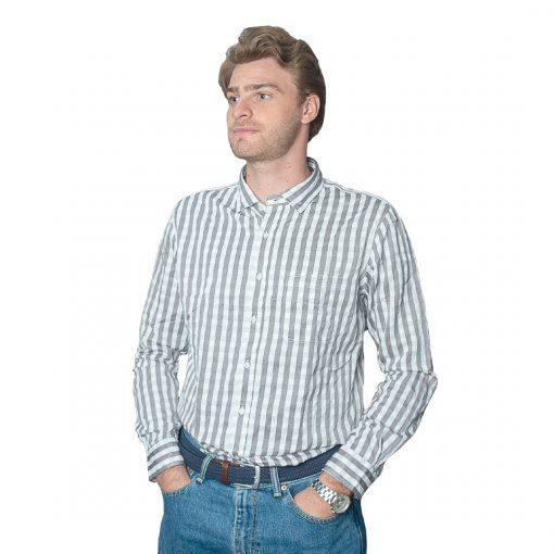 Camisa Hombre Gris a Rayas Halogen CAM-H-96