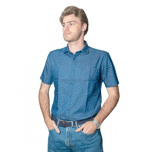 Camisa Hombre Azul con Detalles Halogen CAM-H-99