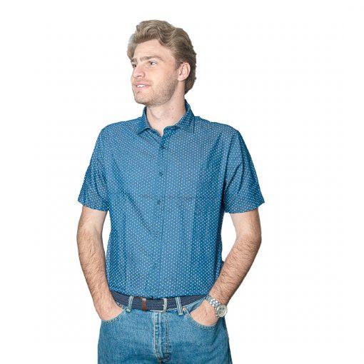 Camisa Hombre Azul con Detalles Halogen CAM-H-100
