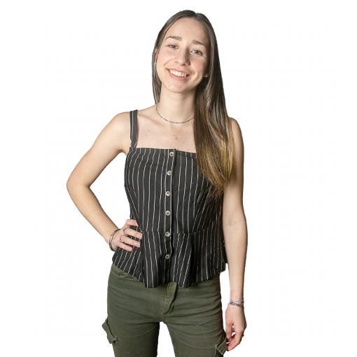 Blusa Dama Musculosa con Botones a Rayas Wanna BWS-216