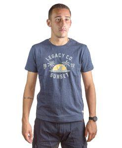 T-Shirt Hombre Azul Marino con Detalles Legacy RHU-139