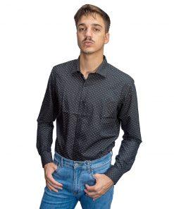 Camisa Hombre Negro con Lunares Halogen CAM-H-117