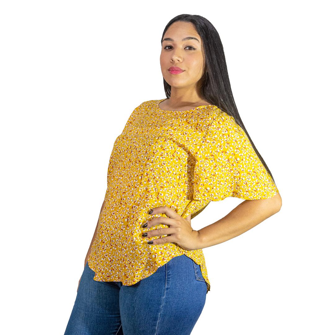 Blusa Dama Amarillo Estampado Wanna BWS-286