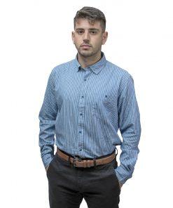 Camisa Hombre a Rayas Celeste Halogen CAM-H-130